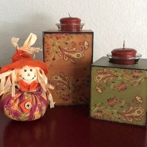 Wooden paisley votive candle holders! Hobby Lobby!